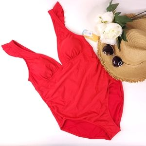 Kona Sol Red Ruffle Plunging Neckline Swimsuit L